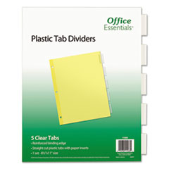 Office Essentials™ INDEX ECO BND LTR 5ST CLR Plastic Insertable Dividers, 5-Tab, Letter