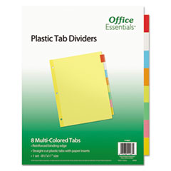 Office Essentials™ INDEX BNDR LTR 8ST AST Plastic Insertable Dividers, 8-Tab, Letter