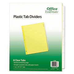 Office Essentials™ INDEX ECO BND LTR 8ST CLR Plastic Insertable Dividers, 8-Tab, Letter