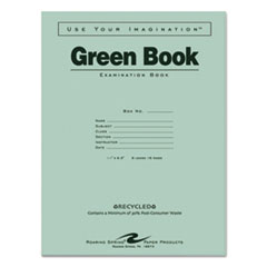 Roaring Spring® BOOK RCYC EXAM WIDE RL GN GREEN BOOKS EXAM BOOK, WIDE-LEGAL RULE, 11 X 8.5, WHITE, 8 SHEETS