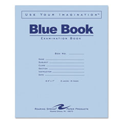 Roaring Spring® BOOK EXAM 8SHT WIDE BE EXAMINATION BLUE BOOK, WIDE-LEGAL RULE, 8.5 X 7, WHITE, 8 SHEETS