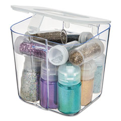 deflecto® STORAGE CADDY CNSTR SM WH STACKABLE CADDY ORGANIZER CONTAINERS, SMALL, CLEAR