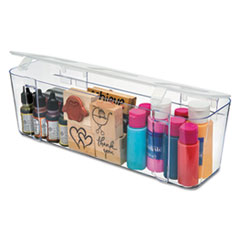 deflecto® STORAGE CADDY CNSTR LG WH STACKABLE CADDY ORGANIZER CONTAINERS, LARGE, CLEAR