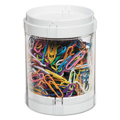 deflecto® STORAGE 1COMP STCK ORG WH INTERLOCKING STACKING 1-BIN ORGANIZER, 2 LIDS-BASES, 3 DIA X 3 9-10, WHITE-CLEAR