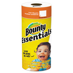 """Bounty® TOWEL BOUNTYBSCSNGLRLL WH ESSENTIALS PAPER TOWELS, 2-PLY, WHITE, 10.2"""" X 11"""", 40 SHEETS-ROLL"""