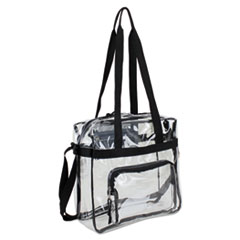 Eastsport® BAG CLEAR STADIUM TOTE BK CLEAR STADIUM APPROVED TOTE, 12 X 5 X 12, BLACK-CLEAR