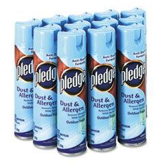 Pledge Dust and Allergen, Outdoor Fresh, 9.7 oz CFC-Free Aerosol Can, 12/Carton