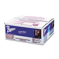 Ziploc Double Zipper Bags, Plastic, 1gal, 1.75mil, Clear w/Write-On Panel, 250/Box