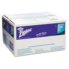 Ziploc Double Zipper Freezer Bags, Plastic, 1gal, 2.7ml, Clear w/Label Panel,250/Carton