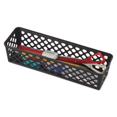"""Officemate BASKET SUPPLY BK Recycled Supply Basket, 10.125"""" x 3.0625"""" x 2.375"""", Black, 3-Pack"""