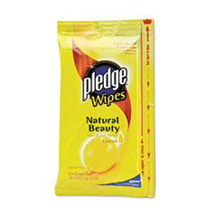 Pledge Lemon Scent Wet Wipes, Cloth, 7 x 10, White, 24/Pack, 12/Carton