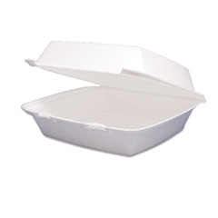 Dart Foam Container, Hinged Lid, 1-Comp, 8 3/8 x 7 7/8 x 3 1/4, 200/Carton
