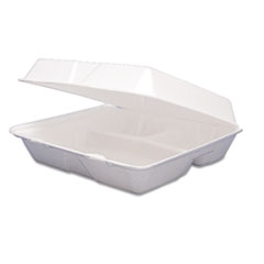 Dart Carryout Food Container, Foam Hinged 3-Compartment, 9-1/2 x 9-1/4 x 3, 200/Ctn