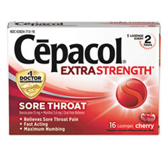 Cepacol® FIRST AID THROAT LZNGE RD Extra Strength Sore Throat Lozenge, Cherry, 16-box