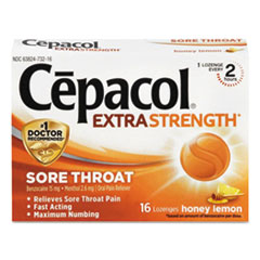 Cepacol® FIRST AID THROAT LZG GD Extra Strength Sore Throat Lozenges, Honey Lemon, 16 Lozenges