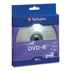 Verbatim® DISC DVD+R 4.7GB DVD+R RECORDABLE DISC, 4.7GB, 16X, SILVER, 10-PACK
