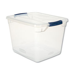 "Rubbermaid® STORAGE 30QT CLVRSTR TOTE CLEVER STORE BASIC LATCH-LID CONTAINER, 30 QT, 13.38"" X 16.88"" X 11.5"", CLEAR"