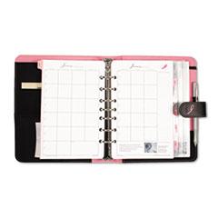 Day-Timer Pink Ribbon Organizer Starter Set w/Microfiber Binder, 5-1/2 x 8-1/2, Black/Pink