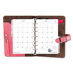 Pink Ribbon Organizer Starter Set w/Leather Binder, 5-1/2 x 8-1/2, Pink/Brown
