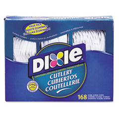 Dixie Combo Pack, Tray w/ White Plastic Utensils, 56 Forks, 56 Knives, 56 Spoons