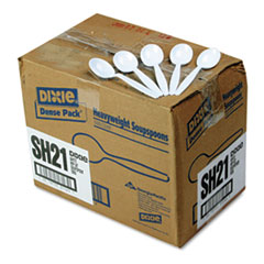 Dixie Plastic Cutlery, Heavyweight Soup Spoons, 1000/Carton, White