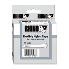 DYMO Rhino Flexible Nylon Industrial Label Tape Cassette, 1/2in x 11-1/2 ft, White
