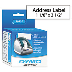 DYMO Address Labels, 1-1/8 x 3-1/2, White, 520/Box