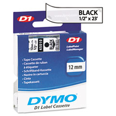 D1 Standard Tape Cartridge for Dymo Label Makers, 1/2in x 23ft, Black on Clear