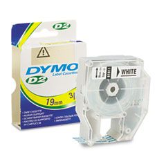 D2 Tape Cassette for Dymo Labelmakers 9000, 6000, PC-10, 3/4in x 32ft, White