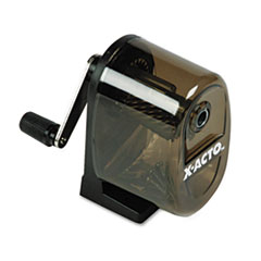 X-ACTO Manual Pencil Sharpener,Table-/Wall-Mount, Translucent Smoke/Black