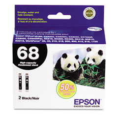 Epson T068120D2 High-Yield Ink, 2/Pack, Black