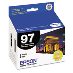 Epson T097120D2 (97) Extra High-Yield Ink, Black, 2/PK