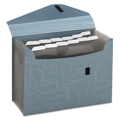 Essentials Expanding File, 13 Pockets, Poly, 13 1/2 x 9, Blue