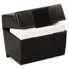 Oxford Plastic Index Card Flip Top File Box Holds 400 4 x 6 Cards, Matte Black