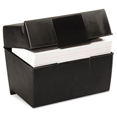 Plastic Index Card Flip Top File Box Holds 500 5 x 8 Cards, Matte Black