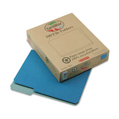 Pendaflex Earthwise Recycled File Folders, 1/3 Cut Top Tab, Letter, Blue, 100/Box