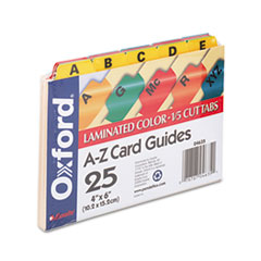 Oxford Laminated Index Card Guides, Alpha, 1/5 Tab, Manila, 4 x 6, 25/Set