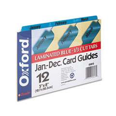 Oxford Laminated Index Card Guides, Monthly, 1/3 Tab, Manila, 5 x 8, 12/Set