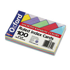 Oxford Ruled Index Cards, 4 x 6, Blue/Violet/Canary/Green/Cherry, 100/Pack