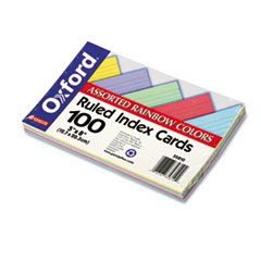 Oxford Ruled Index Cards, 5 x 8, Blue/Violet/Canary/Green/Cherry, 100/Pack