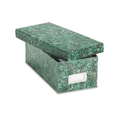 Oxford Card File, Lift-Off Lid, Holds 1,200 3 x 5 Cards, Green Marble Paper Board