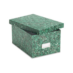 Oxford Card File, Lift-Off Lid, Holds 1,200 5 x 8 Cards, Green Marble Paper Board