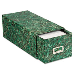 Oxford Reinforced Board Card File with Pull Drawer Holds 1500 4 x 6 Cards, Green Marble