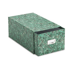 Oxford Card File with Pull Drawer Holds 1,500 5 x 8 Cards, Green Marble Paper Board