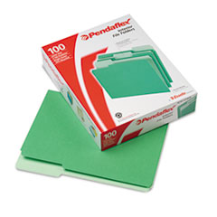 Interior File Folders, 1/3 Cut Top Tab, Letter, Bright Green, 100/Box
