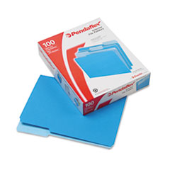 Pendaflex Interior File Folders, 1/3 Cut Top Tab, Letter, Blue 100/Box