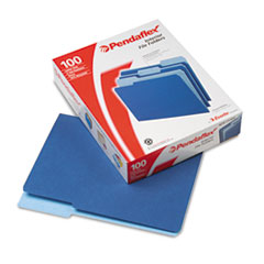Pendaflex Interior File Folders, 1/3 Cut Top Tab, Letter, Navy Blue, 100/Box