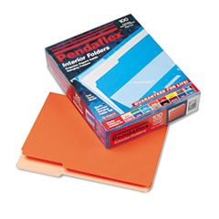 Pendaflex Interior File Folders, 1/3 Cut Top Tab, Letter, Orange, 100/Box