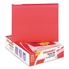 Pendaflex Ready-Tab Lift Tab Reinforced Hanging File Folders, 1/5 Tab, Letter, Red, 25/Box