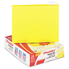 Pendaflex Ready-Tab Reinforced Hanging File Folders, 1/5 Tab, Letter, Yellow, 25/Box